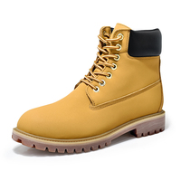 Men ankle boots leather solid yellow classic type lace up high quality ankle boots wide comfortable Sewing thread