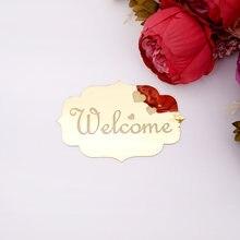 Pegatinas de espejo acrílico 3D con placa de puerta para el hogar, señal de bienvenida, signos de indicación, logotipo de entrada, decoración de boda, placas de puerta plateadas, recuerdos de fiesta