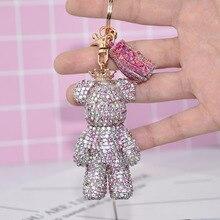 2020 New Fashion Rhinestone Bear Keyring Cartoon Bear Key Chain For Women Gift Tassel Bear Keychain Bag Charm Pendant Gift