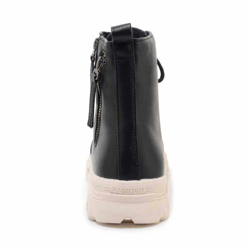 Taoffen artı boyutu 29-46 bayanlar yarım çizmeler fermuar yuvarlak ayak marka ayakkabı kadın kış sıcak kürk Botas kadın ayakkabı