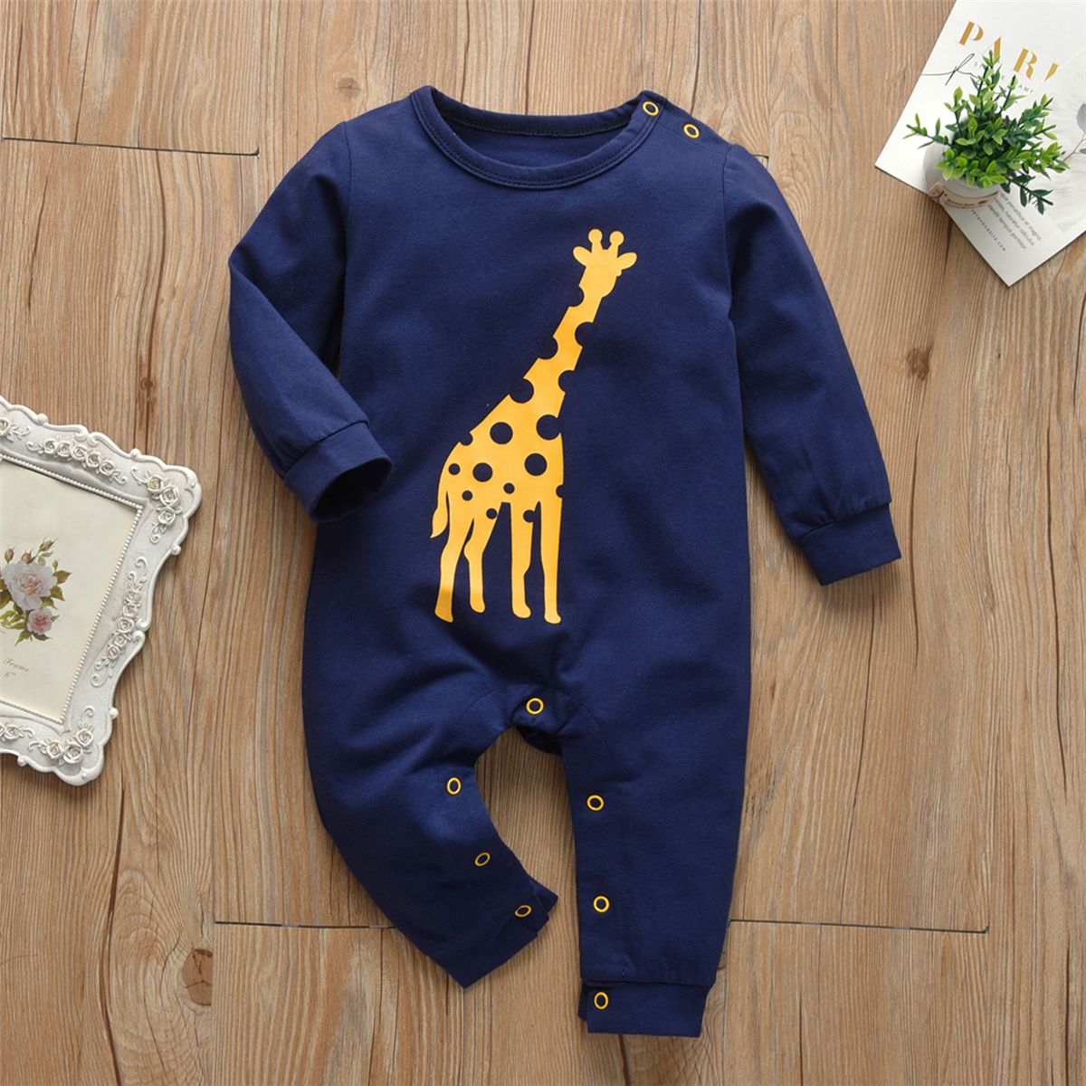 Newborn Baby Boys Girls Romper Pajamas Cotton Long Sleeve Giraffe Print Jumpsuit Infant Clothing Autumn Toddler Clothes Outfits | Happy Baby Mama