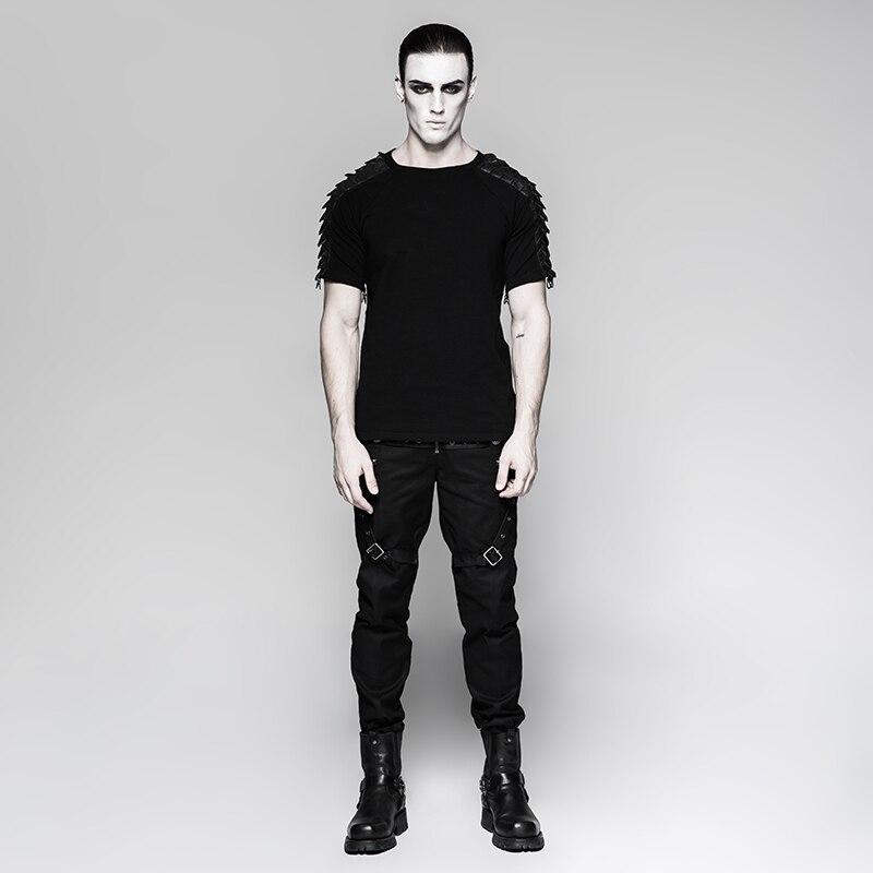 Панк рейв Мужская Панк уличная крутая футболка Готический мотоциклетный стиль модная отстегивающаяся футболка с длинным рукавом хип хоп п... - 4
