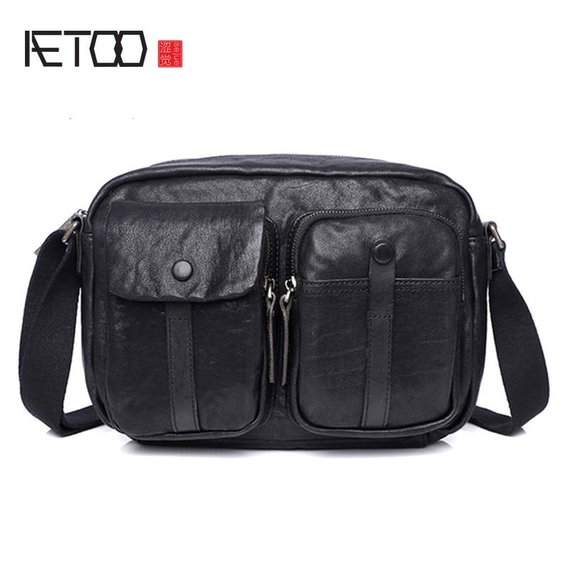 AETOO Leather men's shoulder bag, high-capacity business casual slant bag, fashion trend one-shoulder briefcase