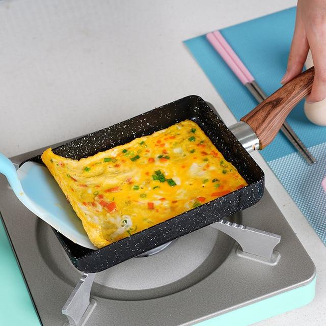 15*18 Frying Non Stick Pan Tamagoyaki Japanese Medical Stone Aluminum Alloy Pan Maker Fry Egg Pan Pancake Pot Pink Cookware