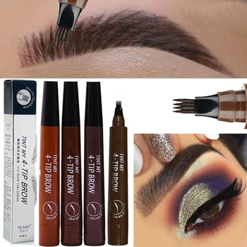 5 Color Fine Sketch Liquid Eye Brow Pencil Waterproof Fork Tip Eyebrow Pencil Microblading Tattoo Eyebrow Pen Long Lasting Brows
