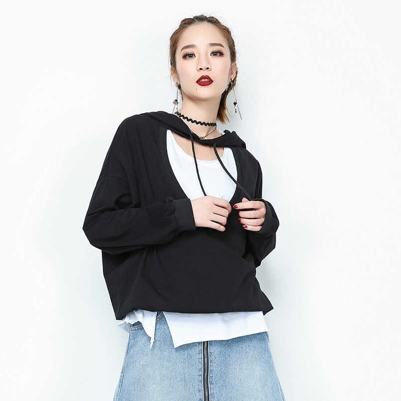 2020 Baru Fashion Solid Katun Kaos Lengan Panjang Wanita Longgar Berkerudung Kaus Kasual Wanita Hollow Keluar Hip Hop Atasan