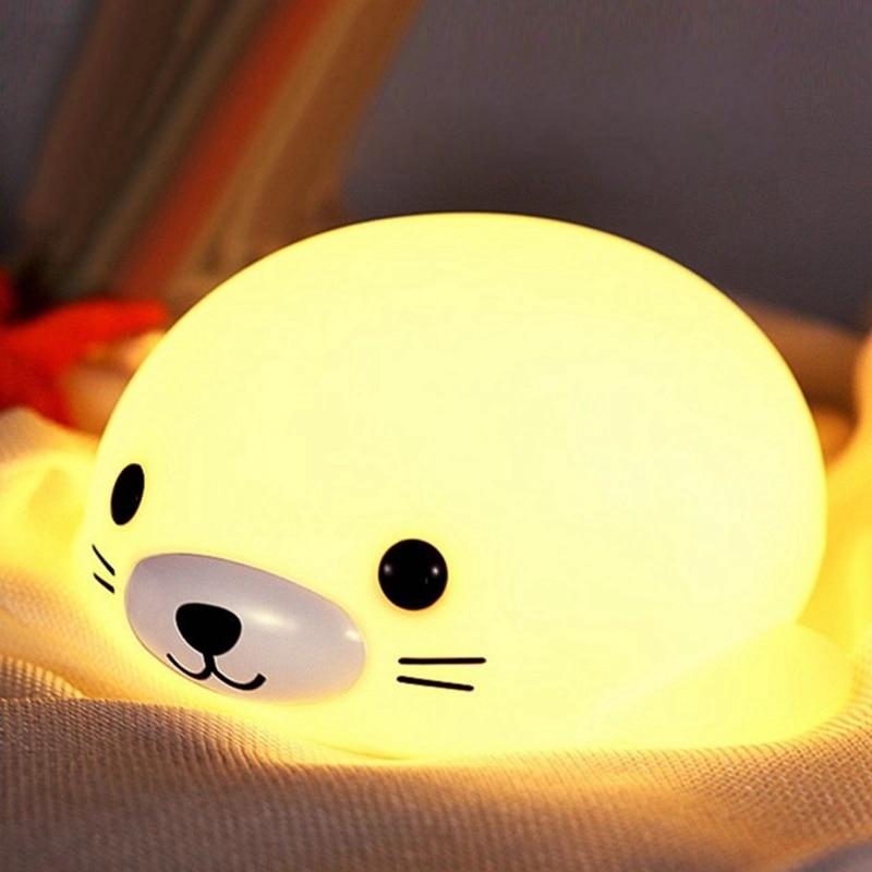 LED Seal Night Light Dimmable Body Bedside Bedroom Night Lamp Touch Sensor Light Kids Gift Animal Cartoon Decorative Living Room