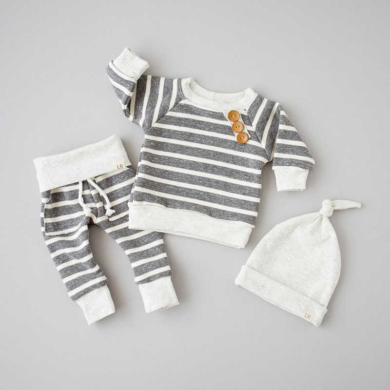 2019 Winter Set Baby Newborn Baby Boy Girl Clothes Stripe Pullover Tops Pants Hat Clothes 3PCS Outfits Set vetement enfant fille