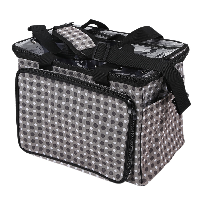 Multi-Functional Sewing Machine Storage Bag Large Capacity Sewing Tools Handbag Polyester Home Use Assorted Tote Gray