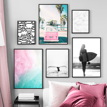 Pink Fog Van Surfing Girl Whale White Feather Nordic Posters And Prints Wall Art Canvas Painting Pictures For Living Room