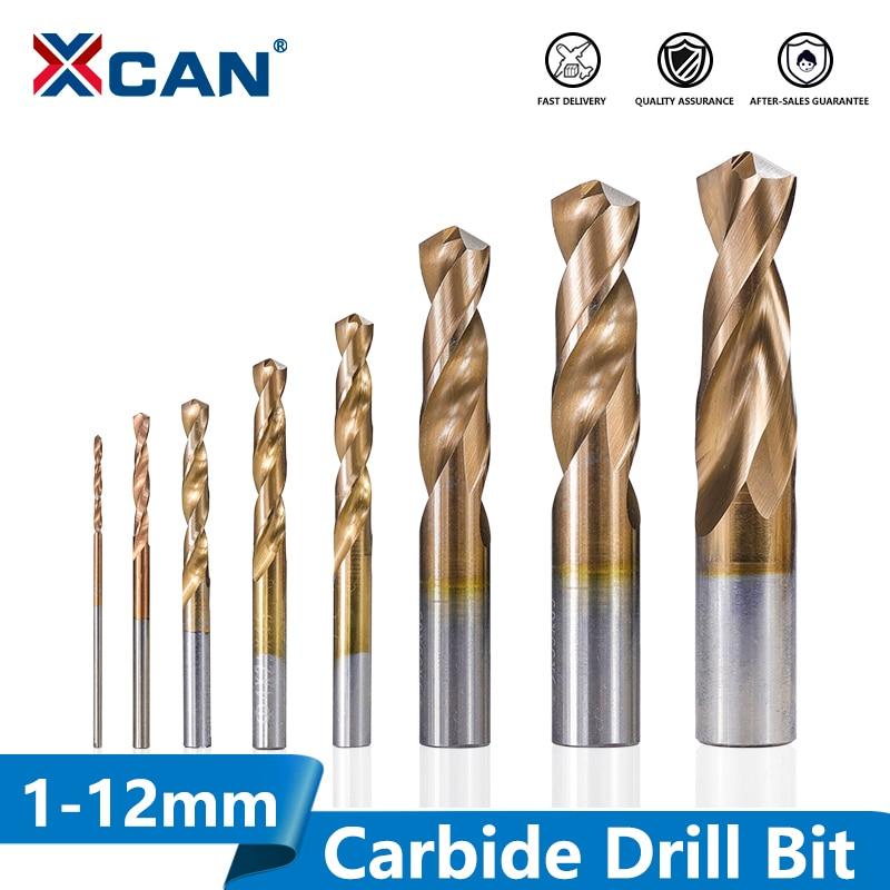 XCAN 1pc Tungsten Carbide Drill Bit 1.0-12mm TiCN Coated Metalworking Monolithic Drill For CNC Lathe Machine Twist Drill Bit