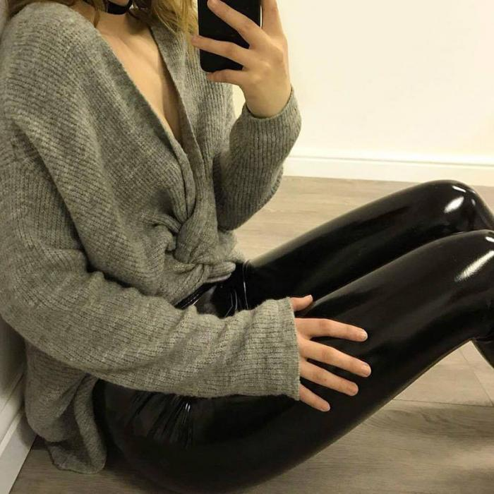 2019 Winter Leggings For Women High Waist PU Leather Skinny Pencil Pants Hot Slim Rivet Black Legging Trousers P9167