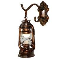 Quente xd bronze criativo retro lanternas personalidade querosene lanternas barra de ferro cafés café ferro forjado lâmpada de parede de bronze|Luzes de pendentes| |  -