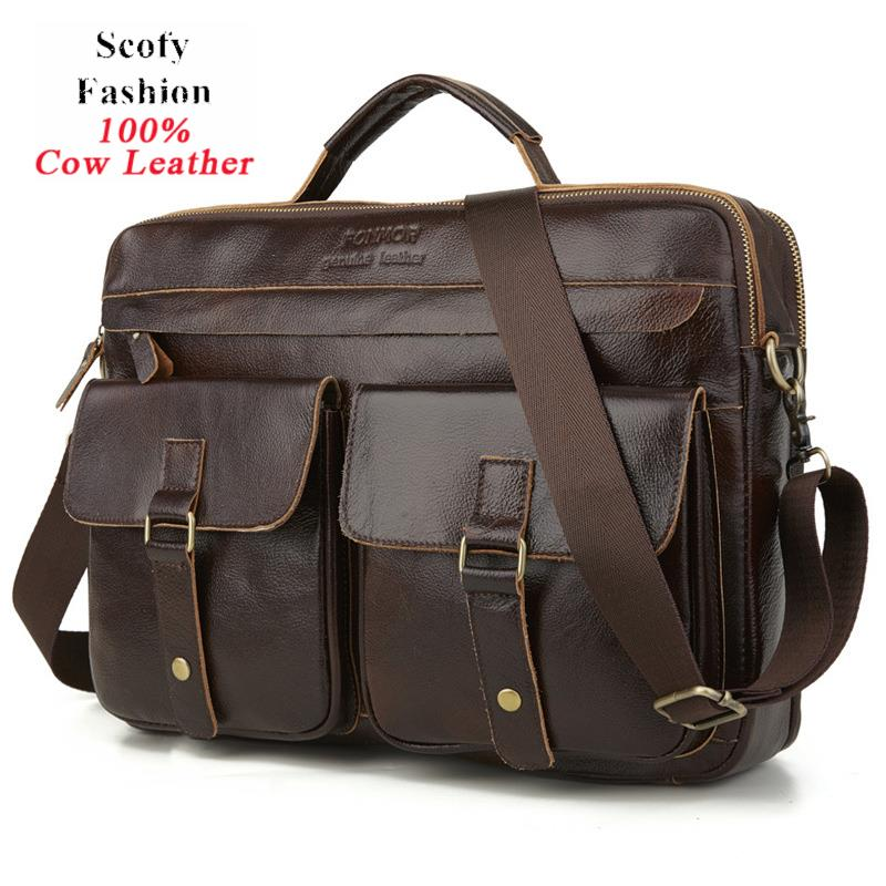 Brand New 100% Genuine Leather Laptop Handbag  Men's Business Leather Bag  High Qaulity Vintage Solid Cowskin Briefcase