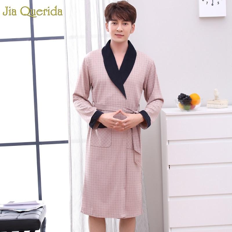 Men's Robe Kimono Men Luxury Clothing Long-Sleeve Cotton Home Winter Lapel Autumn Elegant