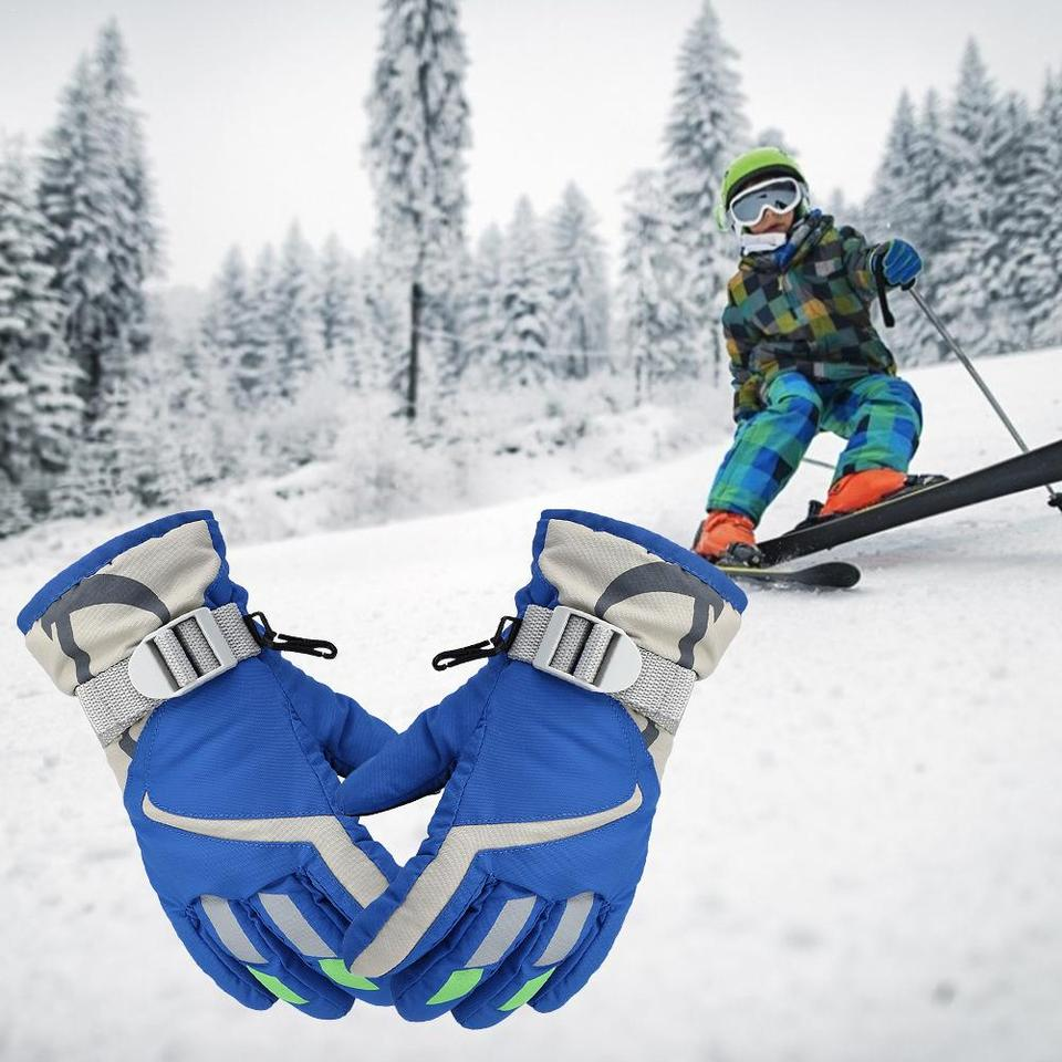 HUVE Children Ski Gloves Stay-on Winter Snow Mittens Waterproof Windproof Three-layer Warm Gloves Perfect For Snow Skiing Sledding And Winter Play