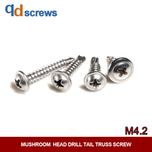 410 M4.2 Stainless Steel Mushroomhead Cross Round Head Large Flat Wallace Drill Tail truss screw