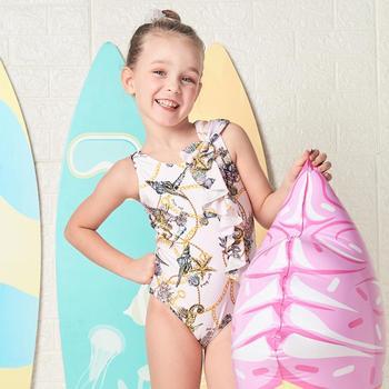 Lipca stroje kąpielowe dziewczęce strój kąpielowy jednoczęściowy druk kwiatowy strój kąpielowy dla dzieci pielęgnacja skóry wysokiej klasy stroje kąpielowe tanie i dobre opinie CN (pochodzenie) Pasuje prawda na wymiar weź swój normalny rozmiar Dziewczyny COTTON Drukuj 18G060