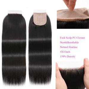 Image 4 - KLAIYI HAIR Malaysian Straight Hair Bundles With Closure 100% Human Hair Extension 3 Bundles With Closure Remy Hair FreeShipping