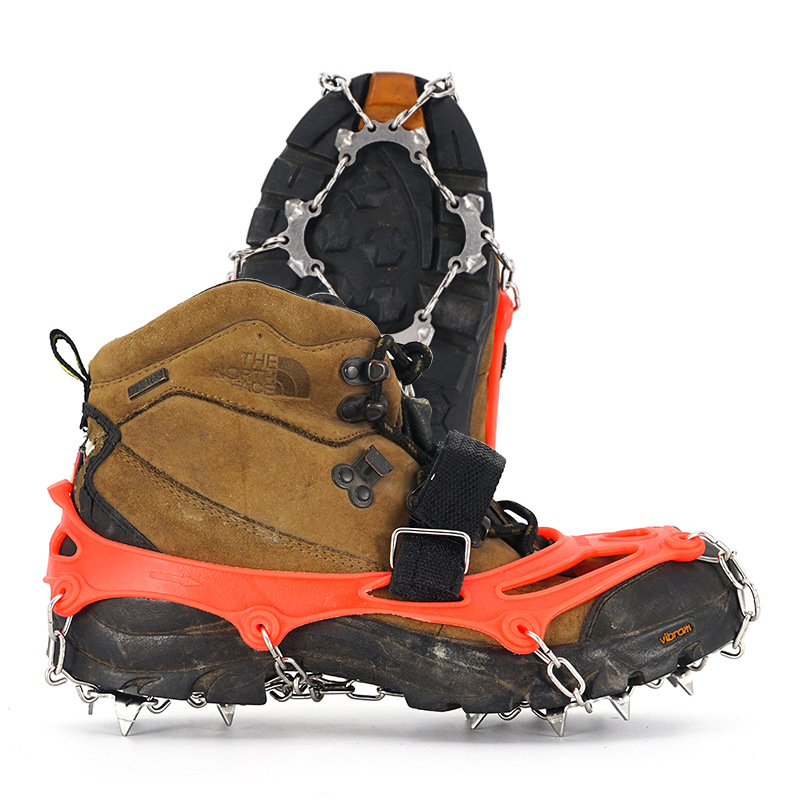 Unisex High-quality Stainless Steel 13-tooth Sports Mountaining Anti-slip Crampons Shoes Cover 2 Pcs