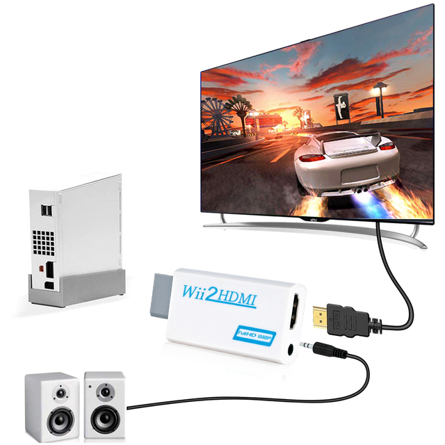 Rovtop Full HD 1080P Wii to HDMI Converter Adapter Wii2HDMI  3.5mm Audio for PC HDTV Monitor Display