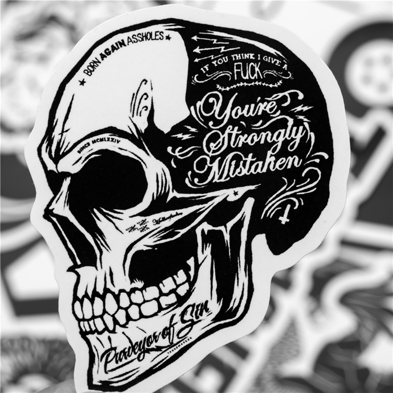 Black And White Cool DIY Stickers For Skateboard Laptop Luggage Snowboard Fridge Phone Toy Styling Home Decor Stickers 50pcs