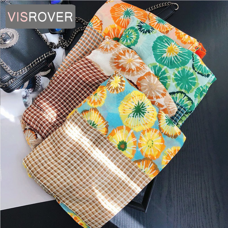 VISROVER 2020 New Flower Printing Viscose Summer Scarf Woman Fashion Beach Wraps Spring Shawls Autumn Hijab Gift Wholesale