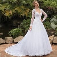 Elegant Long Sleeves White Wedding Dress Plus Size Sexy V Neck Lace A Line Bead Bridal Gowns Custom Made Vestidos De Novias 2020