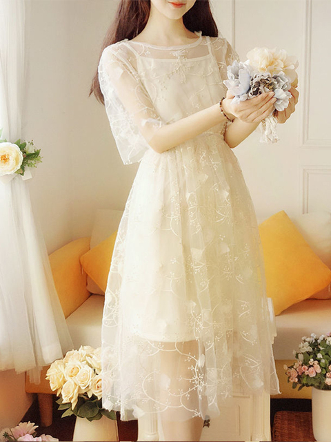 Spring and summer super fairy fairy long dress elegant short-sleeved pure color O-neck applique elegant and sweet fairy dress 3