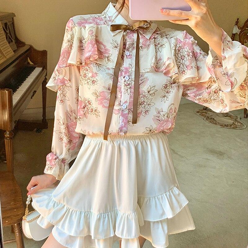 Floral Print Chiffon Shirts Women Cardigan Ruffles Blouses 2021 Autumn Puff Long Sleeve Korean Ladies Tops Blusas Mujer 10449 6