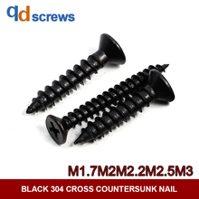 Black Oxide 304 M1.7M2.2M2.9M3 Cross recessed countersunk head tapping screws self-tapping Phillip flat screw GB846 DIN7982