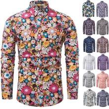 2019 Brand New Men Casual Shirts Retro Floral Printed Classic Dress Shirt Mens Long Sleeve Fashion Spring Plus Szie