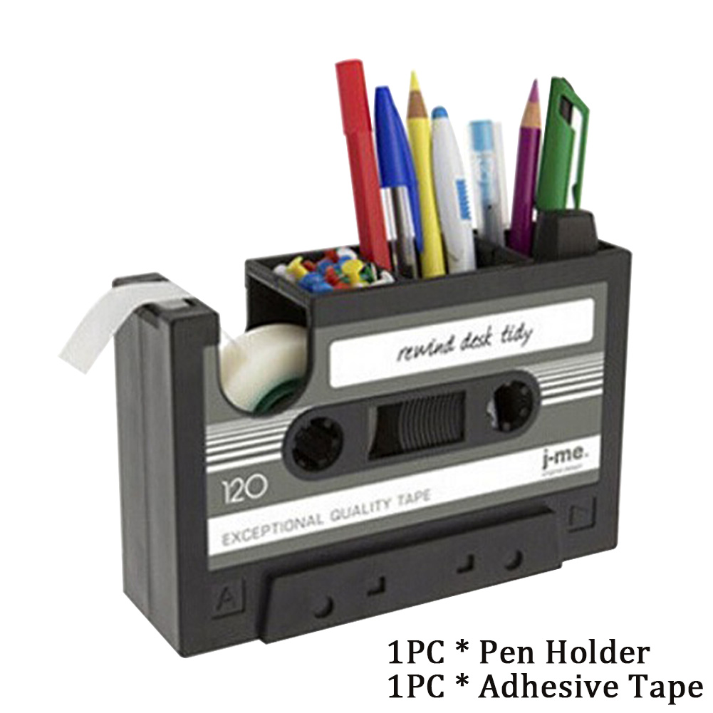 Pen Holder Dispenser Student Cassette Tape Desk Container Home Office Pencil Gift Multifunctional Storage Vintage Style