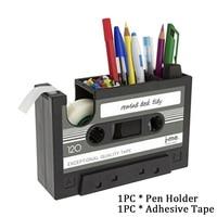 Pen Houder Dispenser Student Cassette Tape Bureau Container Home Office Potlood Gift Multifunctionele Opslag Vintage Stijl      -