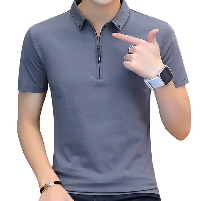 BROWON Summer Fashion 2020 Mens Tshirts Summer Cotton T Shirt Men Short Sleeve Turn-down Collar Korean Style Men T Shirt