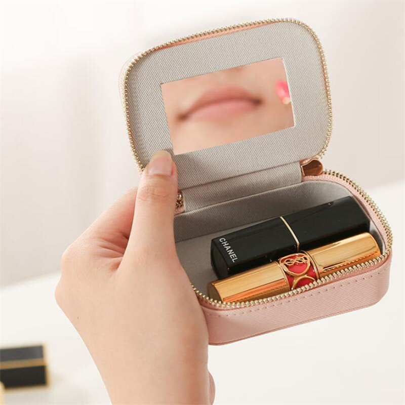 Lipstick Case With Mirror Makeup Bag Women Small PU Cosmetic Bag Travel Pouches Organizer Storage Bag Luxury Make Up Pocket Bags