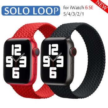 Pleciony pasek silikonowy z pętlą Solo dla Apple Watch band 44mm 40mm 38mm 42mm elastyczna bransoletka dla serii iWatch 6 SE 5 4 3 tanie i dobre opinie ProBefit CN (pochodzenie) Od zegarków Nowy z metkami
