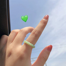 New Summer Cute Ethnic Green Glass Adjustable Finger Ring for Women Girls Elastic Beads Ring Jewelry Man Women Ring Gifts