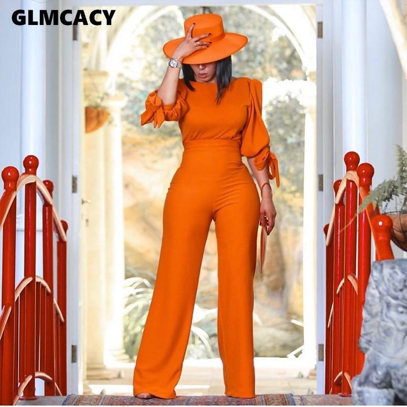 Women Two Piece Matching Sets Long Sleeve Blouse & High Waist Wide Leg Bodycon Pants Suit  Chic Suit