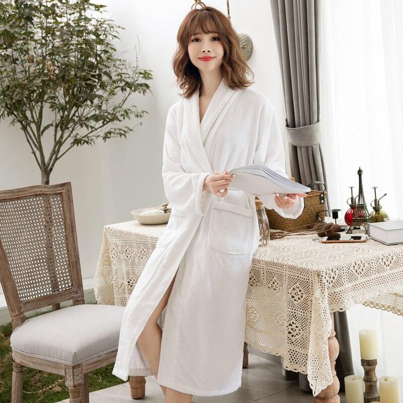 Robes Women 100% Cotton Bathrobe Belt Elegant Bathroom Spa Robe Solid Kimono Daily Ladies Sleepwear Breathable Dressing Gown