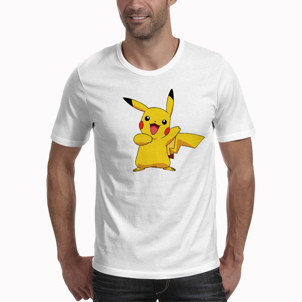 T Shirt PIKACHU POKEMON Tshirt Casual O-Neck Short Mens Shirts Funny T Shirts White Men Tops Tees Clothing