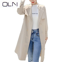 autumn Trench OLN Korean new arrival wholesale female long casual windbreaker double-breasted tie belt coat