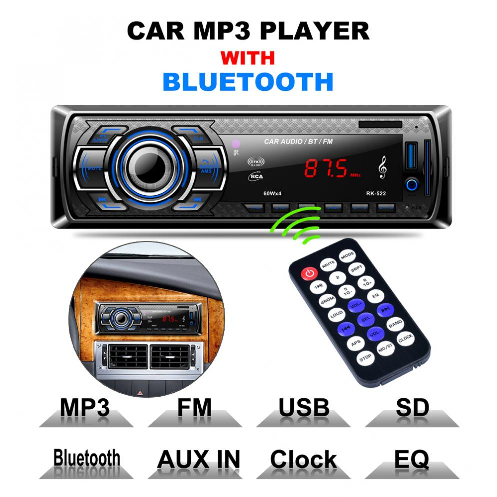 12V Bluetooth Car Radio MP3 Player Vehicle Stereo Audio fm transmiter digital music changer auto usb music player for car image