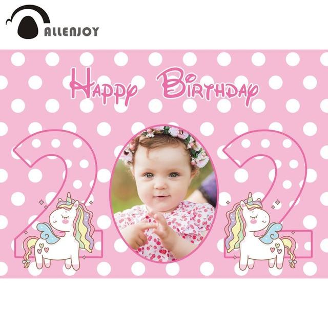 Allenjoy Child Custom Photo Backdrop Happy Birthday Pink Unicorn Party Banners Background Girl Baby Shower Photobooth Photozone