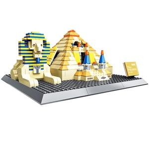 WANGE 4210 Architecture 3D Pyramid Building Blocks Sets City Bricks Classic Skyline Model Kids Gift Toys For Children