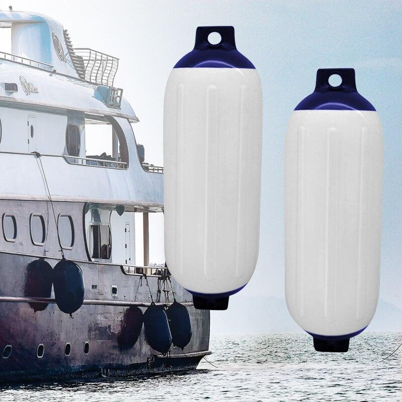 Protection de bouclier de Dock marin de pare-chocs gonflable nervuré par vinyle de garde-boue de bateau protégé par UV de 2 pièces PVC 11x40 cm pour le hors-bord de Yacht