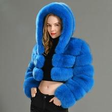 2019 חורף אמיתי שועל פרווה נשים מעילי טבעי אמיתי נשי שועל פרווה מעיל באיכות גבוהה גבירותיי ברדס פרווה מעיל