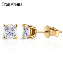 Transgems Solid 18K 750 Yellow Gold Solitare Seting Earrings 1CTW 5MM F Color Moissanite Stud Earrings for Women Wedding gift