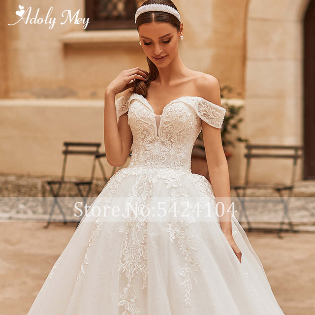 Adoly Mey Gorgeous Appliques Sparkly Tulle A-Line Wedding Dress 2021 Luxury Sweetheart Neck Beading Lace Up Princess Bridal Gown 5
