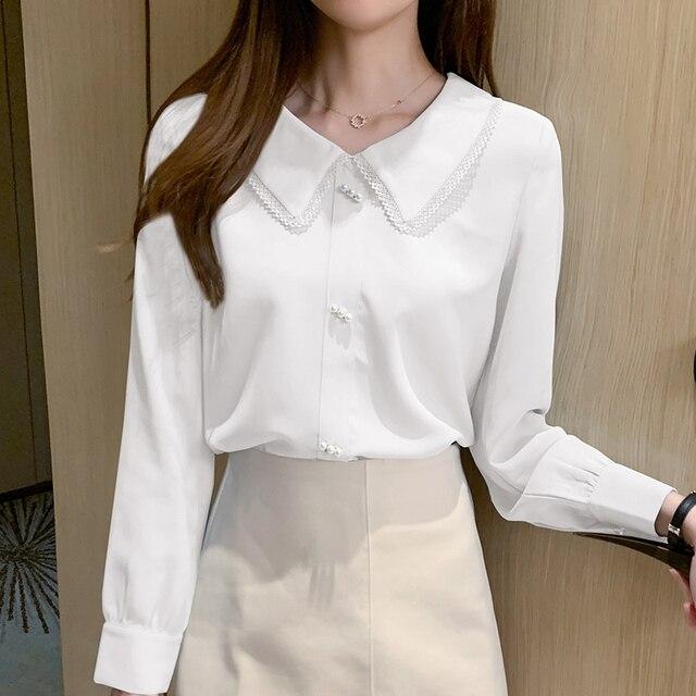 Long Sleeve Chiffon Shirt Doll Collar French Top Korean Fashion New 2020 Loose Professional Shirt Women Blouses 3